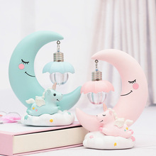 Resin LED Night Light Romantic Moon Night Lamp Indoor Holiday Lighting 3D Lamp Home Decoration Christmas Gifts Girls Pink/Blue lediary novelty unicorn night light marquee sign white pink blue horse led decoration bedside lamp gifts toy christmas holiday