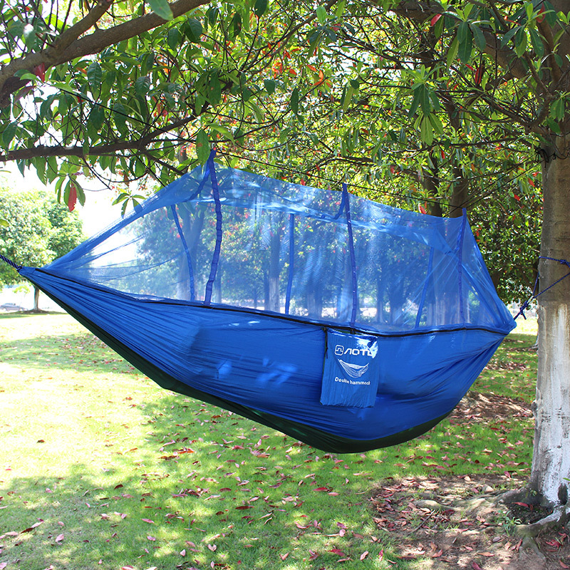Outdoor Camping Nets Hammock Portable Adult Double Parachute Cloth Safety Anti Falling Outdoor Camping Hammock With Mosquito