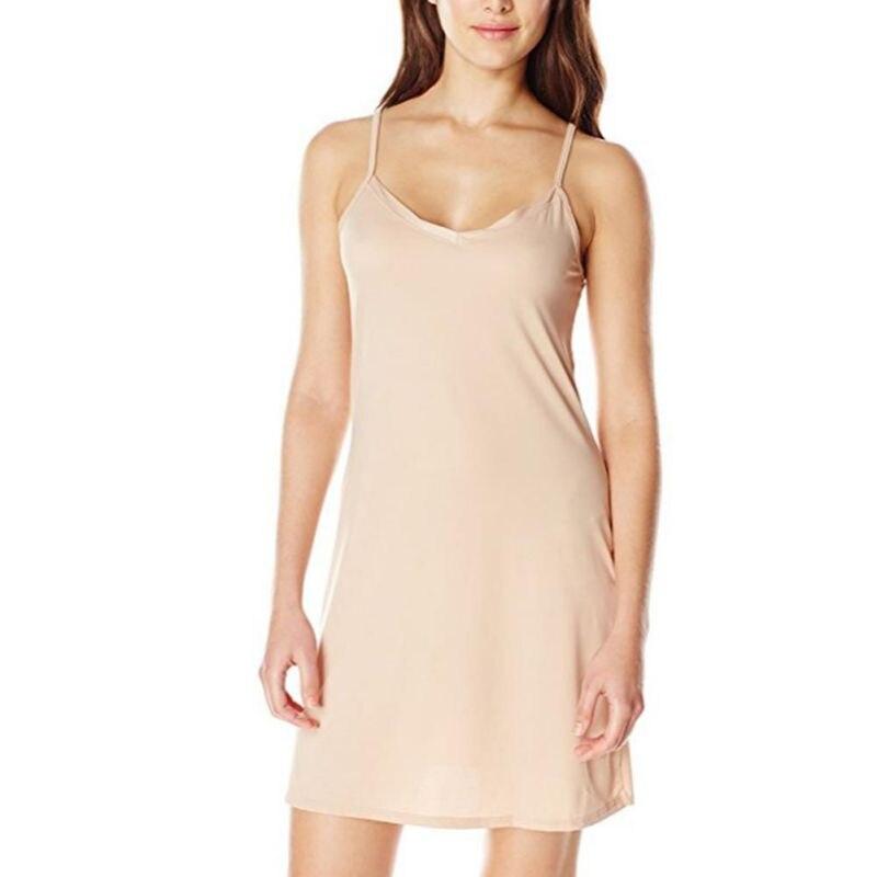 2019 Fashion Women Smooth Sleeveless Under Mini Dress Sexy Spaghetti Strap Short Dress