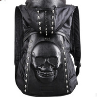 New Tide Fashion Personality Clothing With Hooded Rivet Skull Men Backpack Black 3D Large Capacity Men Computer Laptop Bags