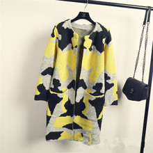 Long Sleeve Sweater Women Popular  Nice  Spring Autumn Fashion New Camouflage Long Knitted Female Cardigan Women's Trench A223