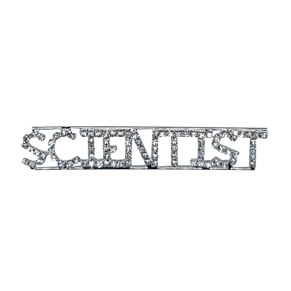 Custom Professions&Jobs Theme Crystal Lapel Pin SCIENTIST Word Brooch Gift Wholesale 6PCS/LOT FREE SHIPPING