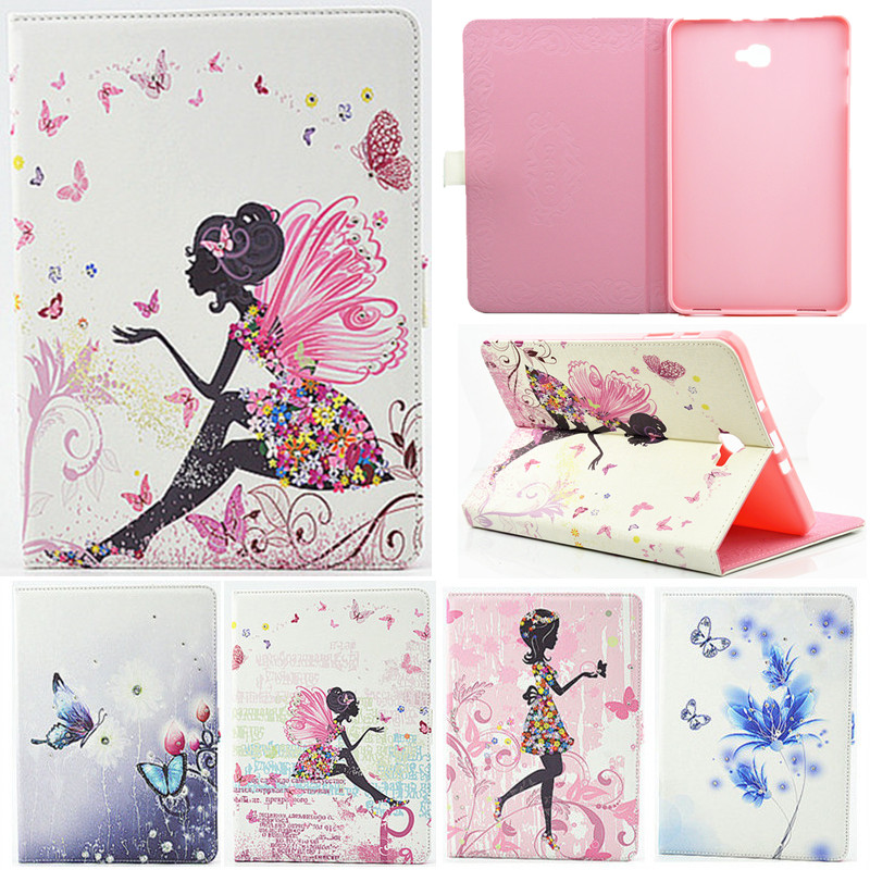 For Samsung Galaxy Tab A A6 10.1 2016 T585 T580 T580N Case Girl Bling Butterfly PU Leather Book Stand Protective Tablet Cover leopard print pattern protective plastic case w tail for samsung galaxy s4 i9500 black yellow