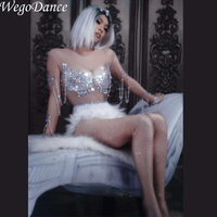 New Sparkling Crystals Jumpsuit Nightclub Party Women Sexy Skin Color Bodysuit Short White Feather Skirt Glass Costume