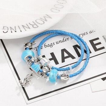 Cute Bracelet For Women With Blue Unicorn Beads Jewelry