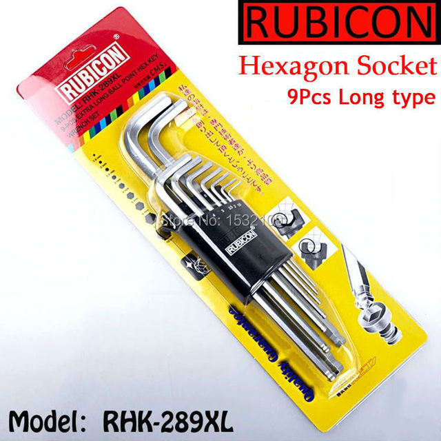 207a78e3abca0 Free Shipping Rubicon RHK-289XL Metric Flat Head Hex Wrench Hex Key Set 9  in 1
