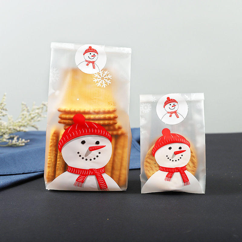 Us 2 38 5 Off 50 Pcs Large Small Gift Cellophane Cookie Fudge Candy Bag Christmas Fashion Scrub Xmas 2 Size Translucent Snowman In Bags Baskets