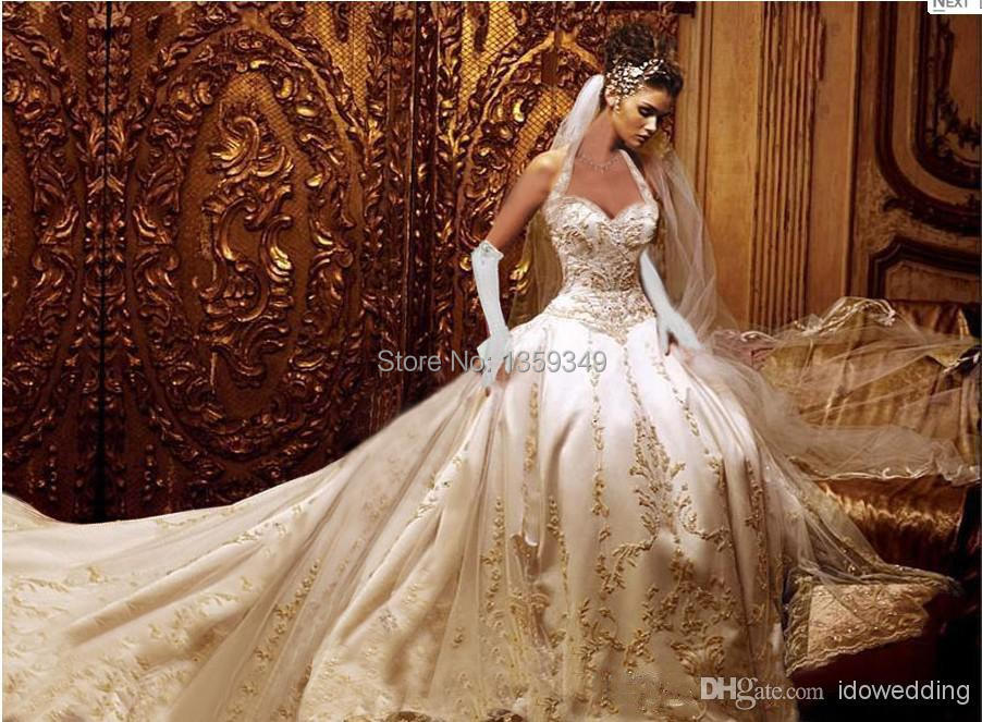 14.1 Dignified Champagne A Line Halter Wedding Dresses 2014 ...