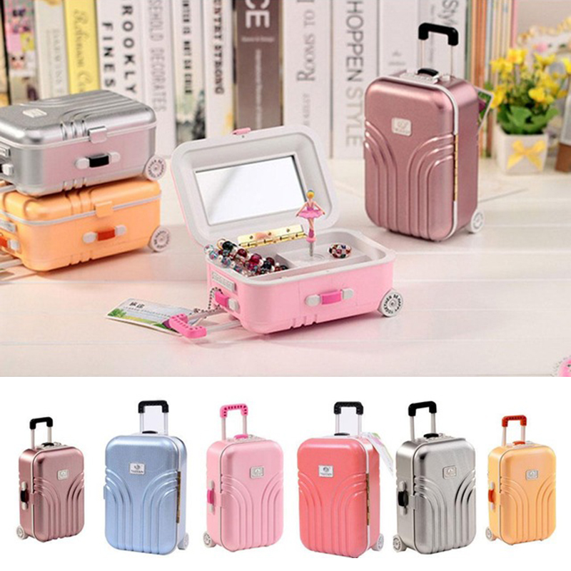 Mini Suitcase Shape Music Box Children Kids Toys Gifts For Elise Tone Plastic Music Box Birthday Gift For Home Office Decoration