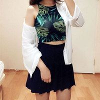 Crop Top Sexy Tank Tops Women High Elasticity All Matches Print Women Tops Cropped Summer Style Vest Female Plus Size Tanks