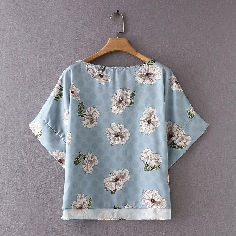 2019 women sky blue blouse summer female floral printed shirt short sleeve slash neck blouse casual fashion chiffon drop ship blouse