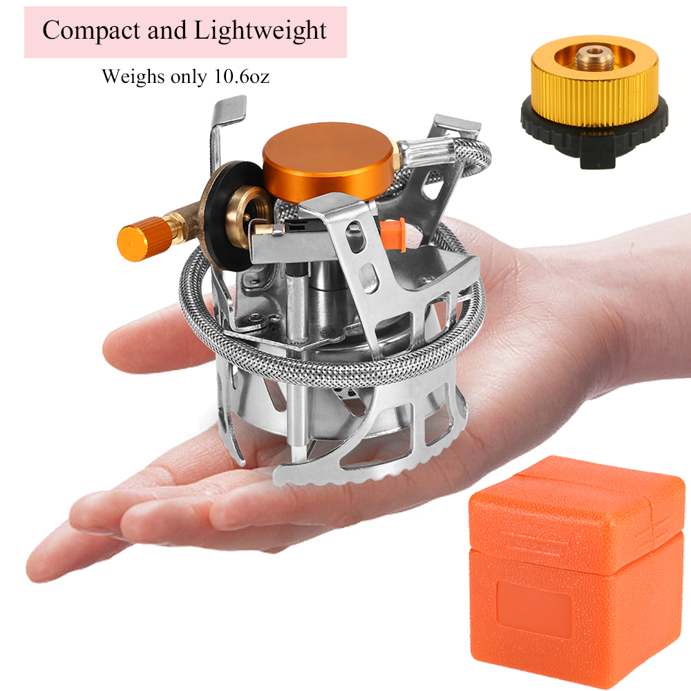 Image 3 - Portable Windproof Camping Gas Stove Outdoor Cooking Stove Foldable Split Burner with Gas Conversion Head Adapter-in Outdoor Stoves from Sports & Entertainment