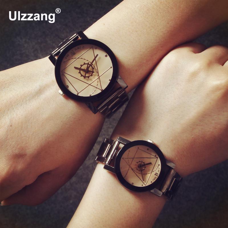 Fashion Black Gear Navigation Stainless Steel Quartz Wrist Watch Gift Hours For Women Ladies Men Male Lovers
