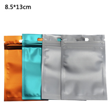 8.5*13cm Ziplock Aluminum Foil Clear Plastic Packing Bag With Hang Hole Reclosable Mylar Cereal Food Storage 100pcs/lot
