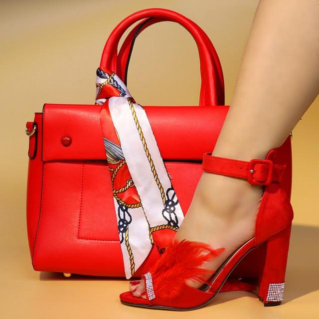 In Set Farbe Mode 2018 52018 Afrikanische Rot Und Neue Passender Us119 Top High Heels Ankunft Großhandel Frau Italienische Schuhe Tasche NOkX8Zn0wP