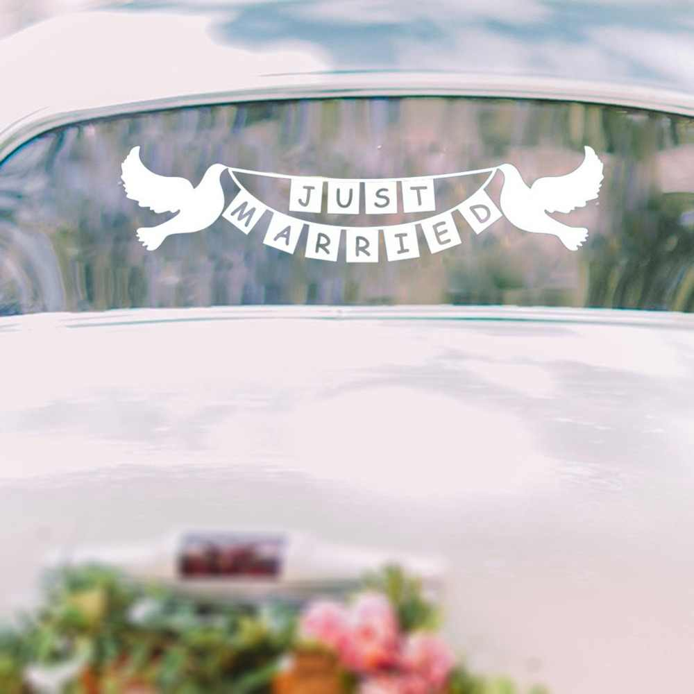 Just married stickers doves bunting banner wedding car window decal wedding decoration wedding gift waterproof wall