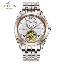 SOLLEN Calendario Mismo-Viento Automático hombres Militar reloj mecánico de los hombres relojes de lujo reloj relojes hombre de negocios de calidad