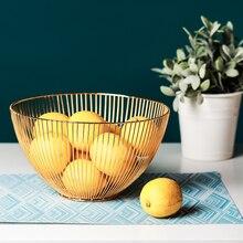 Scandinavia Rose Gold Metal Fruit Basket Desktop Golden Round Wrought Iron Storage Home Vegetable Organizer