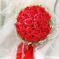 2017 Дешевые Свадебные/Невесты Свадебный Букет Новый Красная Роза Ручной Работы Искусственный Цветок Букеты де mariage рамо де-ла-бода