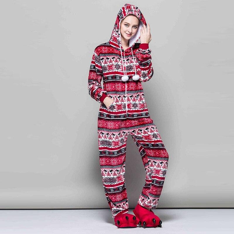 Women Snowflake Pajamas Flannel Winter Pyjama Cartoon Anime Red Bird Sexy Hooded Pijama Sleepwear Onesies For Adults