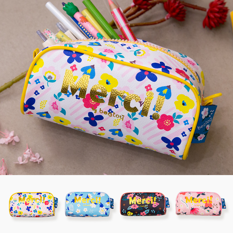 Fresh Flowers Leather Pencil Cases For Girls Pen Bag Travel Makeup Bag Cosmetic Cases Pencil Case Kawaii School Stationery Store multifunction cosmetic cases women make up bag punk skull print kids boys pencil pen bag for school boys girls stationary holder