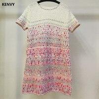 KENVY Брендовые женские Модные высокого класса люкс Летние Серебряные трикотажные с коротким рукавом платья