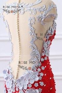 Image 5 - עלה Moda יוקרה בכבדות חרוזים אדום תחרת בת ים שמלה לנשף עם כפתורי פנינת פרחי עבודת יד 3D עירום חזור צד פורמלי שמלת