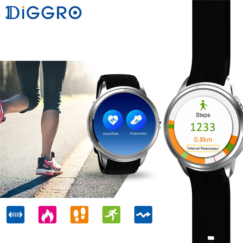 Android 5.1 IOS IP67 Étanche Diggro DI01 Montre Smart Watch MTK6580 SIM 3G WIFI Appel Moniteur de Fréquence Cardiaque Temps Santé rappel