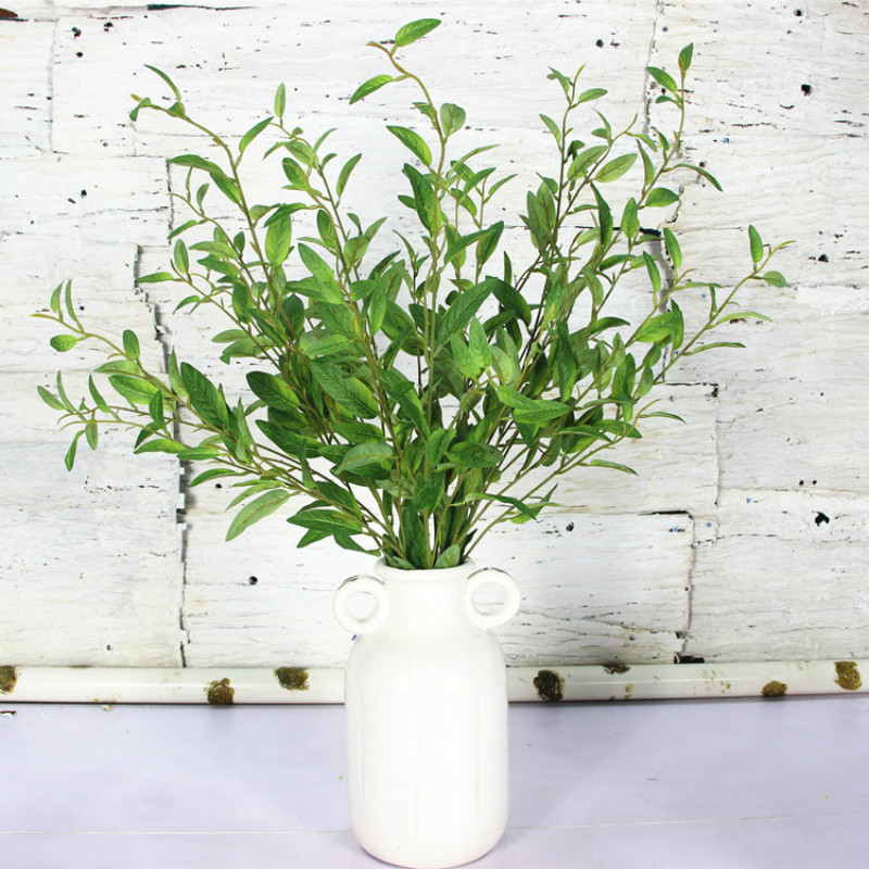 7pcs / lot 시뮬레이션 올리브 지점 인공 식물 잎 홈 결혼식 장식 녹색 잎에 대 한 98cm 긴