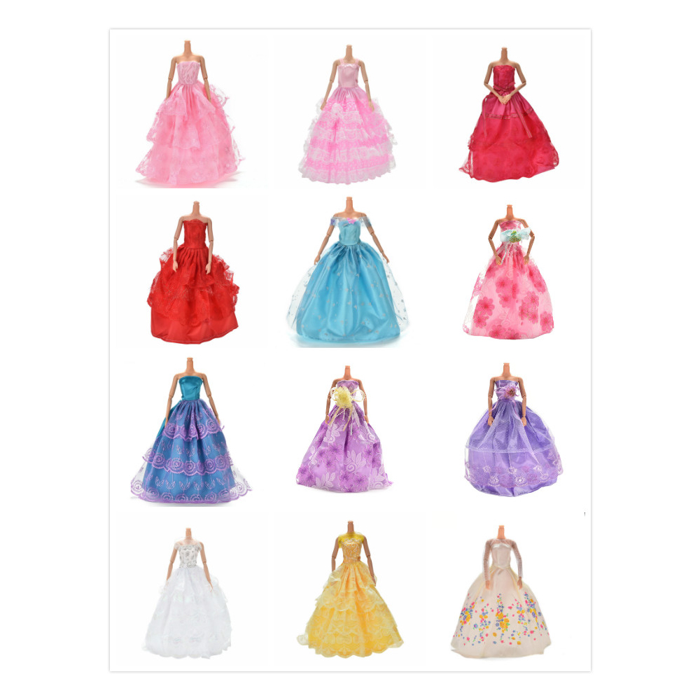 One Pcs Doll Dress Clothes Clothing Elegant Lace Multi Layers Wedding Dress For Barbie Doll Luxury Floral Dolls Accessories