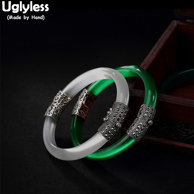 Uglyless Real 925 Sterling Silver Bangles Women Natural Green Opal Bangle Evening Statement Fine Jewelry Marcasite Retro Bijoux