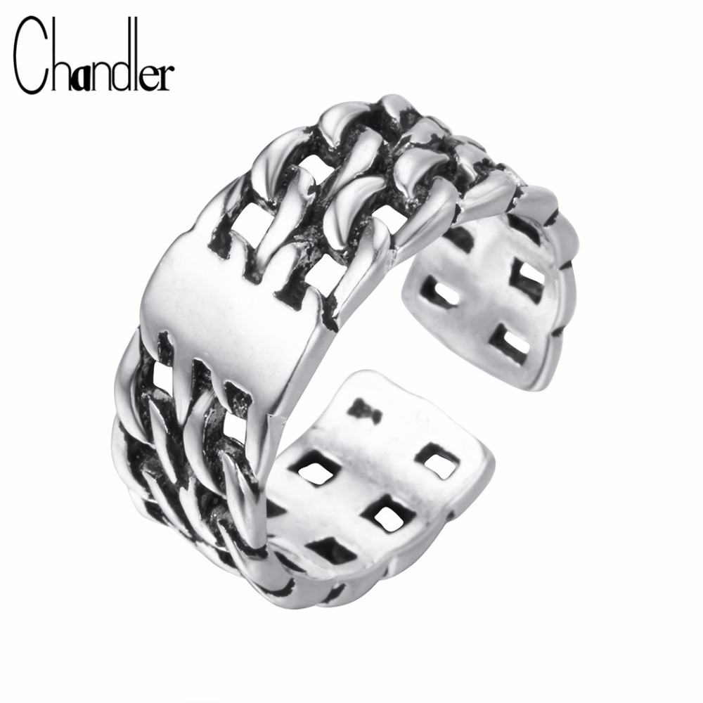 chandler 925 silver rotatable chain gear ring for man woman exquisite punk mid pinkie toe bague - Gear Wedding Ring