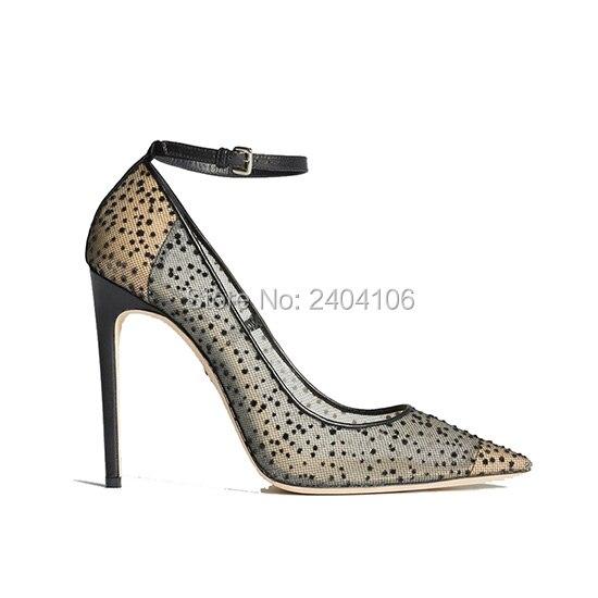 Shooegle Designer Sexy dentelle noir Nude talons hauts bout pointu Transparent fête mariage chaussures femme boucle cheville sangle pompes