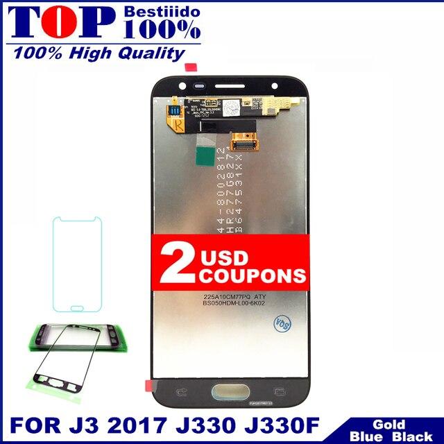 استبدال لسامسونج غالاكسي J3 2017 J330 J330F شاشة هاتف LCD مجموعة المحولات الرقمية لشاشة تعمل بلمس مع سطوع التحكم