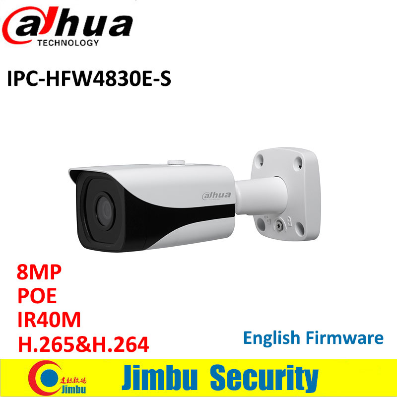 Dahua 8MP POE IP camera IPC-HFW4830E-S IR40m 4K Mini Bullet Network Camera 4mm fixed lens Micro SD memory IP67 dahua 4mp wdr ipc hfw4431e s h 265 fixed lens3 6mm ir40m network waterproof ip67 smart detection bullet ip camera hfw4431e s