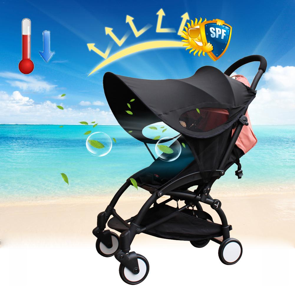 Universal Sun and Sleep Stroller Cover Anti-UV Windproof Insect Mosquito Repellent Sun Shade for Strollers Car Seat Black