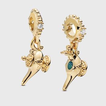 16690c189de6 Cuentas de plata de ley 925 brillo DISNE lámpara mágica cuentas de encanto  para joyería que se ajusta a las pulseras originales de Pandora joyería ...