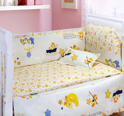 Promotion! 6PCS New Arrived Comfortable Baby Bedding Sets,Infant Bedding Set Baby Crib Sheets (4bumpers+sheet+pillow cover)