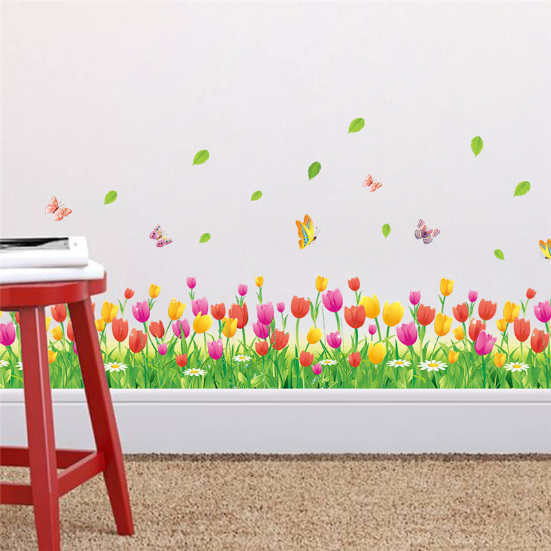 Wonderful Garden Tulip flower Butterfly 3d wall Stickers DIY Wall Decal Home decor Living Room Bedroom Window Baseboard in Wall Stickers from Home Garden