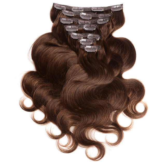 Aliexpress buy doreen 200g 10pcs double weft clip in human doreen 200g 10pcs double weft clip in human hair extensions 4 brown body wave malaysian pmusecretfo Gallery
