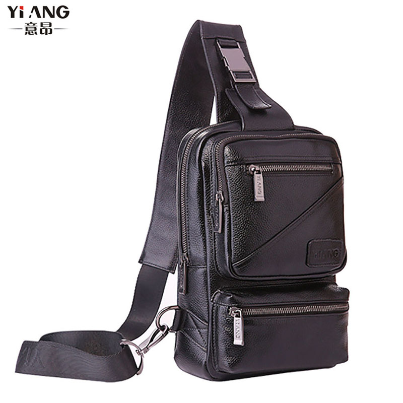 High Quality  Cowhide Sling Chest Back Day Pack Travel Riding Men Genuine Leather Sling Cross Body Messenger Shoulder Bag high quality men genuine leather cowhide vintage sling chest back day pack travel fashion cross body messenger shoulder bag