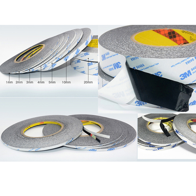 1PCS 1-5mm x 50m Super Slim & Thin Black Double Sided Adhesive Tape for Mobile Phone Touch Screen/LCD/Display Glass