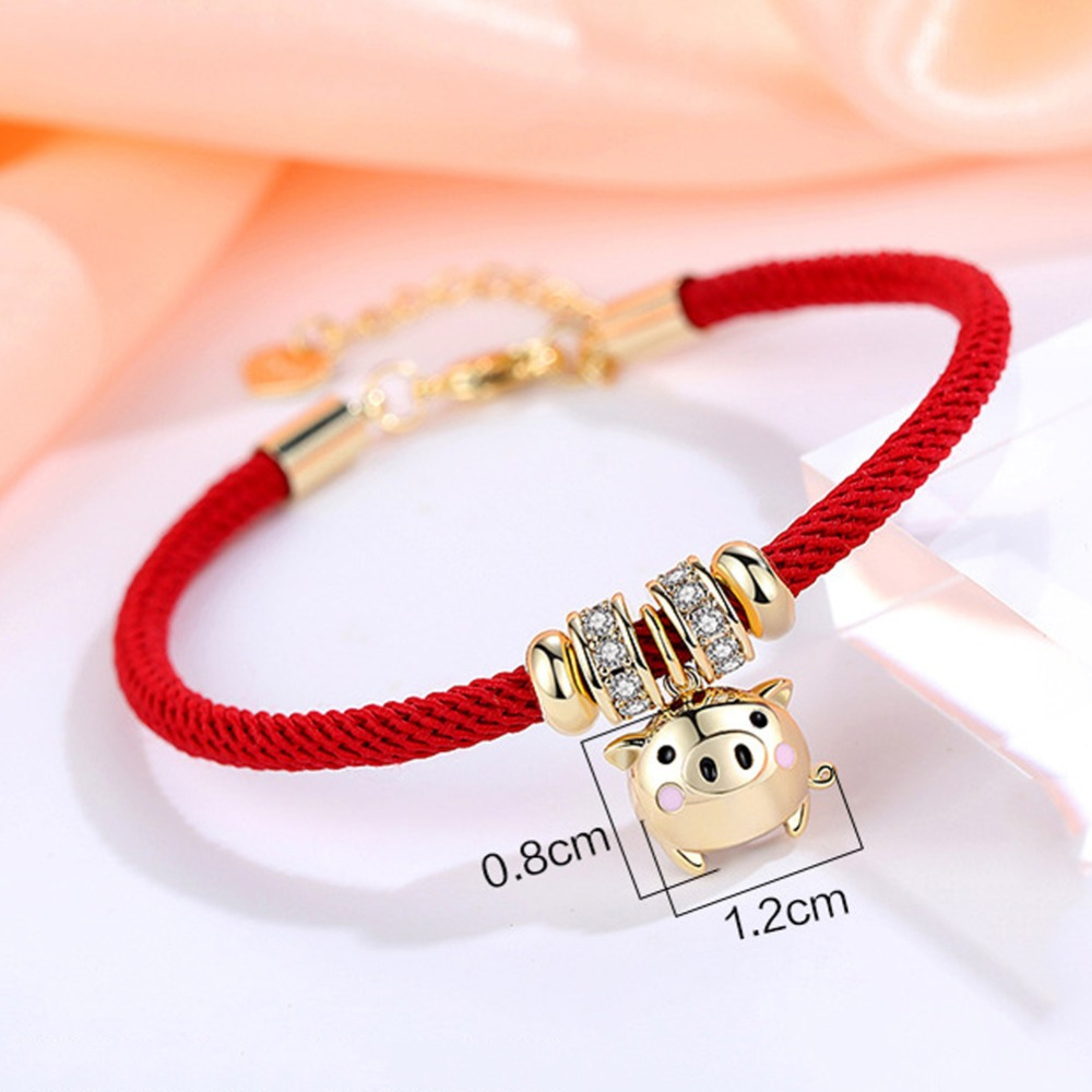 Новинка, 3D Золотая подвеска со свиньей браслетом, красная веревка, браслет, Китайский Зодиак, удача, ювелирные изделия, подарок для женщин и ...