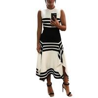 2019 Summer Women Elegant Boho Tunic Party Dress Female Fashion Casual Contrast Stripes Splicing Irregular Hem Dress