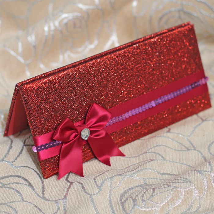 Glitter Wallet Style Luxury Wedding Invitation Red Color With ...