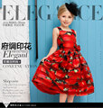 Children summer wear girl's printing in Europe and the United States foreign trade dress sleeveless flower princess dress