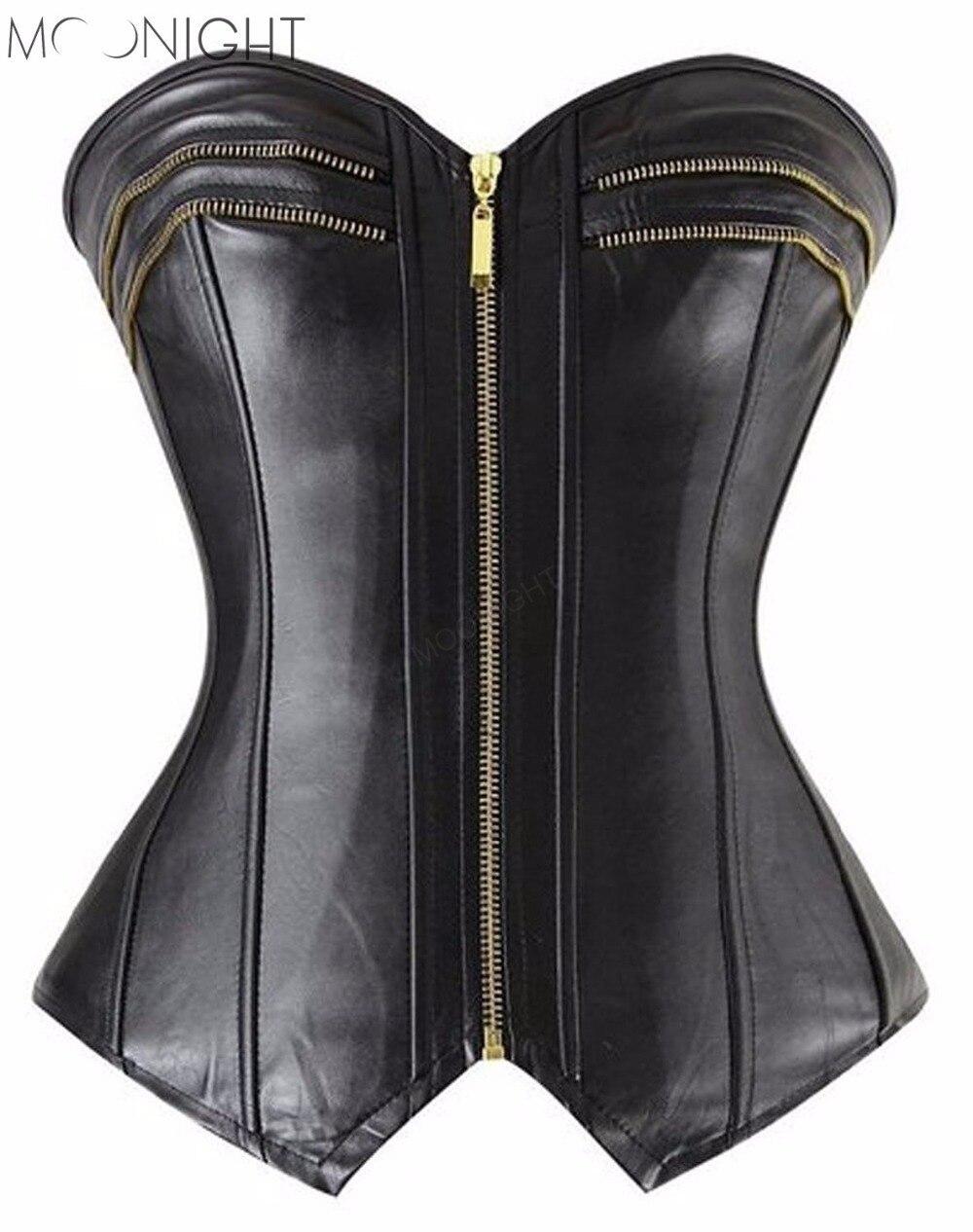MOONIGHT Sexy Black Overbust Corset Zipper Corpete Mulheres Corselet Korsett For Women Size S M L Xl 2Xl
