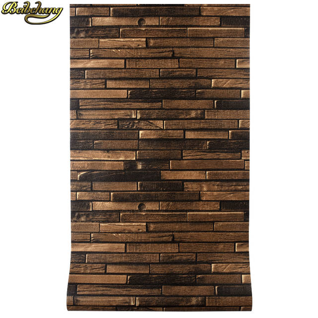 Beibehang Retro Nostalgic Imitation Wood Plank Grain Texture Wallpaper Log Color Background Wall Paper Papel De Parede