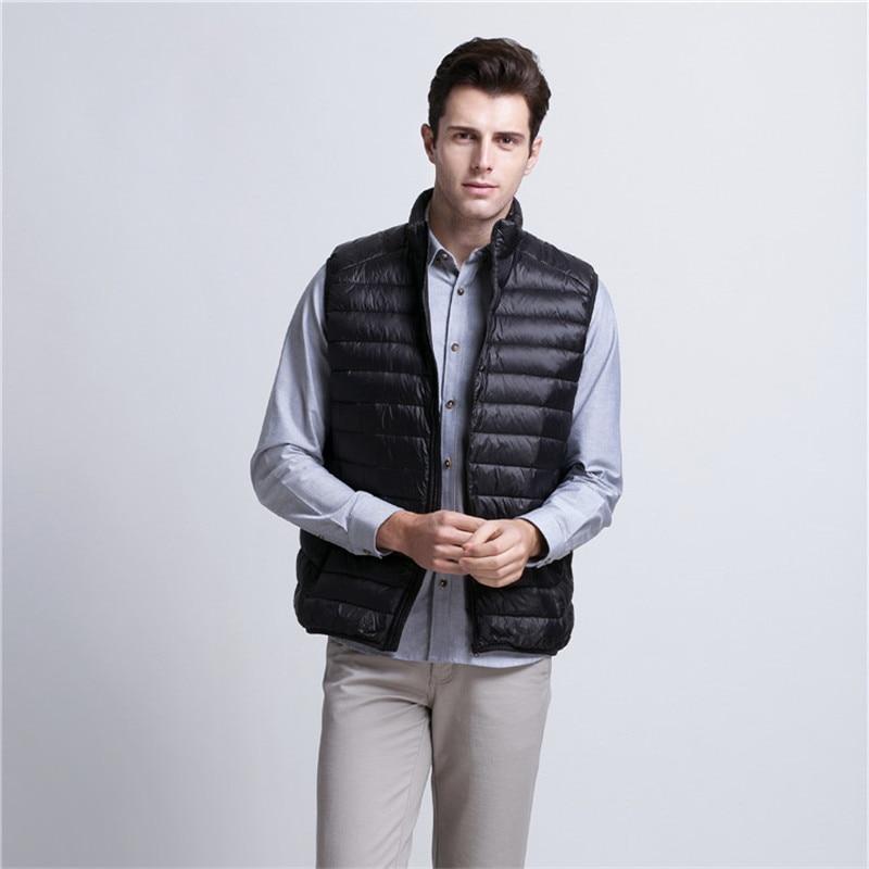 2017 New Arrival Brand Vest Men Winter duck down Ultra Light 90% Duck Down Vest Loose waistcoat vest Sleeveless jacket 3XL X566