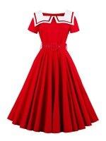 Sisjuly 여름 레드 여성 dress 여성 화이트 세일러 칼라 솔리드 여자 여름 드레스 라인 짧은 소매 여성 띠 dress
